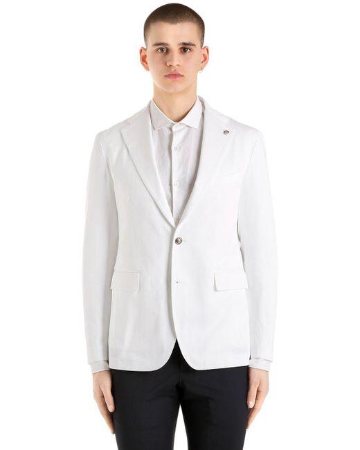 Tagliatore - White Cotton Gabardine Jacket for Men - Lyst