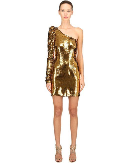 0c9f7ebdc9fe Amen Sequined Asymmetrical Mini Dress in Metallic - Save 32% - Lyst