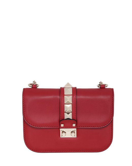 Valentino   Red Small Lock Nappa Leather Shoulder Bag   Lyst