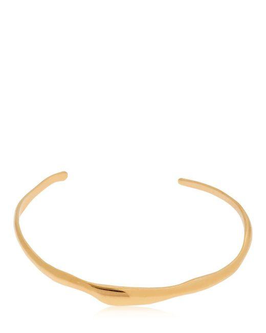 Women's Metallic Wide Ripple Gold Plated Bracelet by Bar Jewellery