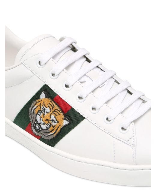 Gucci New Ace Tiger Leather Trainers W Ayer In White For
