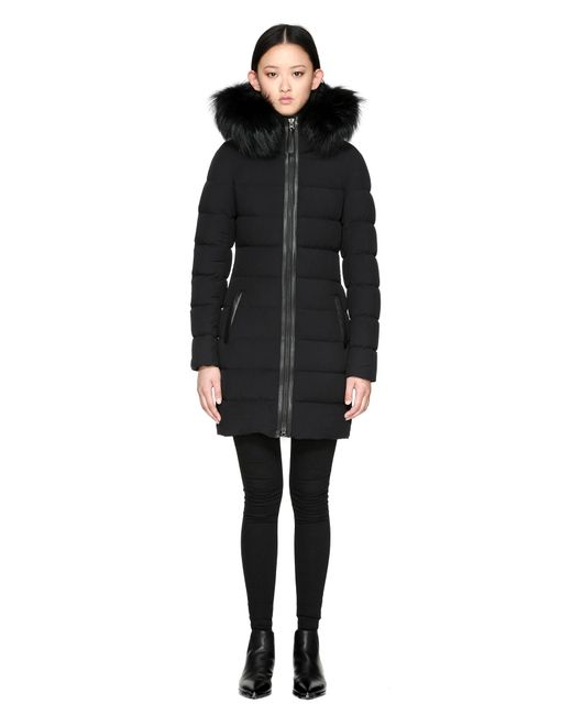 Mackage - Calla Lightweight Down Coat With Fur Trimmed Hood In Black - Lyst
