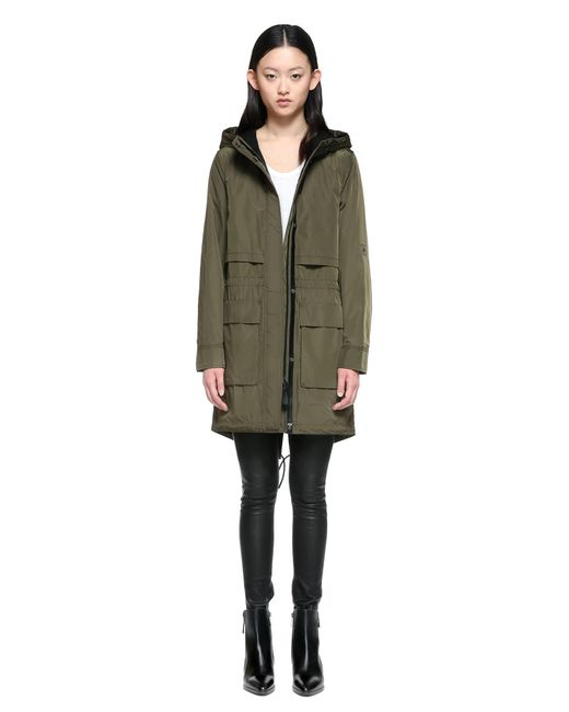 Mackage Cosima Fishtail Parka Raincoat With Hood In Army in Green ...