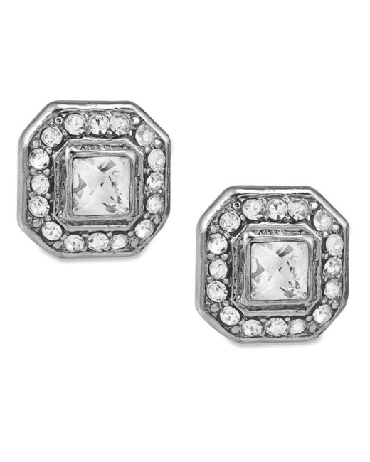Carolee | Metallic Earrings, Silver-tone Square Button Stud Earrings | Lyst