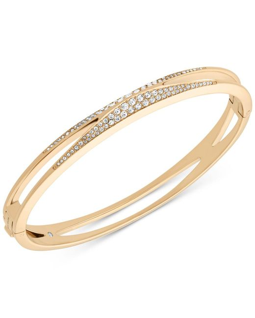 Michael Kors - Metallic Pavé Hinged Bangle Bracelet - Lyst