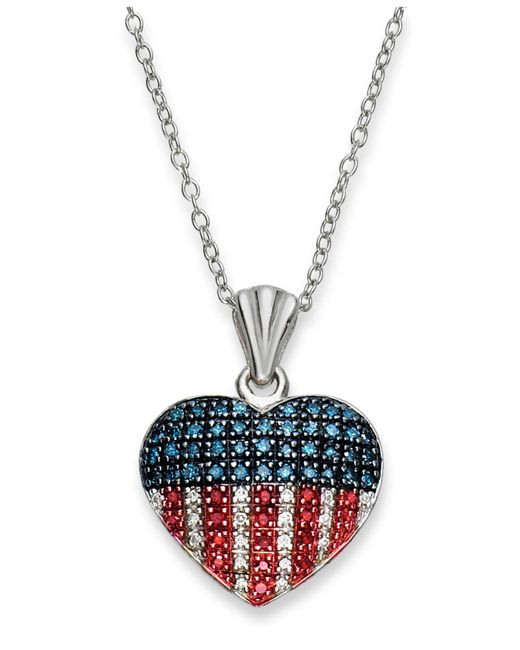 Macy's - Red, White And Blue Diamond Flag Heart Pendant Necklace In Sterling Silver (1/3 Ct. T.w.) - Lyst