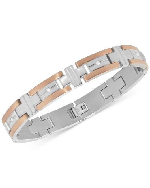 Macy's - Metallic Men's Diamond Two-tone Bracelet (1/10 Ct. T.w.) In Stainless Steel And Rose Gold Ion-plated Stainless Steel for Men - Lyst