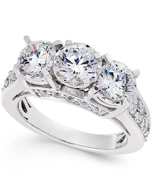 Macy's - Metallic Diamond 3-stone Ring (3 Ct. T.w.) In 14k White Gold - Lyst
