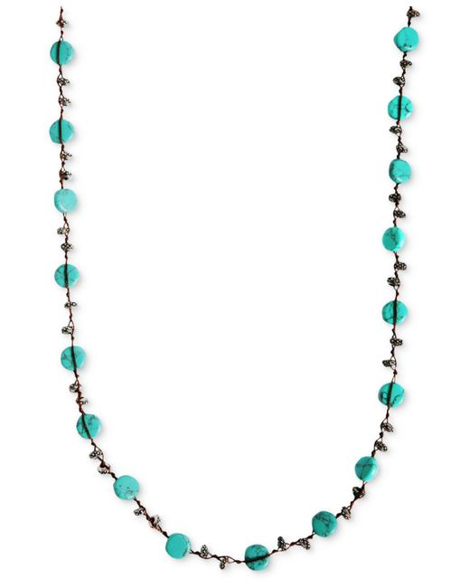 Lucky Brand - Blue Necklace, Reconstituted Turquoise Hammered Coin Necklace - Lyst