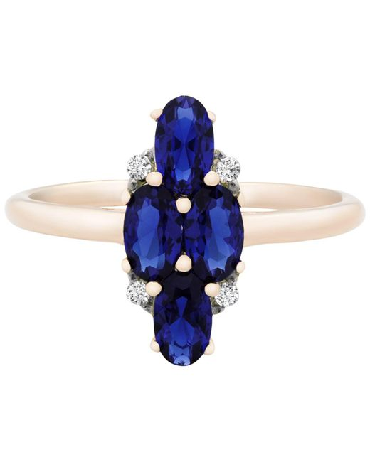 afb3dc61a Macy's Sapphire (1-3/4 Ct. T.w.) & Diamond Accent Ring In 14k Gold ...