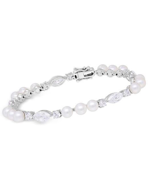 Arabella | Metallic Cultured Freshwater Pearl (5mm) & Swarovski Zirconia Bracelet In Sterling Silver | Lyst