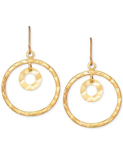 Macy's - Metallic Hammered-look Circle Drop Earrings In 10k Gold - Lyst