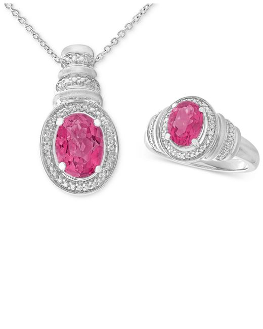 Macy's - Pink Topaz (3 Ct. T.w.) & Diamond Accent Pendant Necklace And Matching Ring In Sterling Silver - Lyst