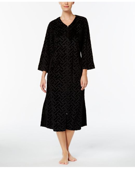 Miss Elaine | Black Embossed-velour Robe | Lyst