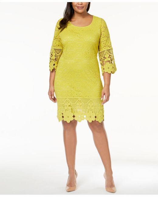 Alfani - Yellow Plus Size Crochet Shift Dress, Created For Macy's - Lyst