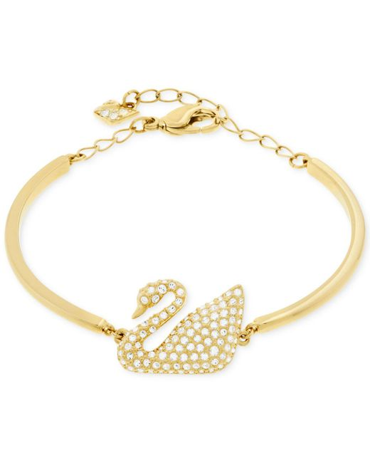 Swarovski | Metallic Swan Gold-plated Crystal Bracelet | Lyst