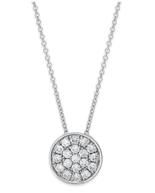 Effy Collection - Metallic Diamond Disk Pendant Necklace (1/4 Ct. T.w.) In 14k White Gold - Lyst