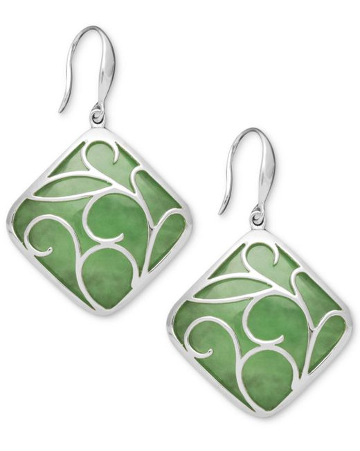 Macy's - Green Sterling Silver Earrings, Jade Swirl Overlay Earrings - Lyst