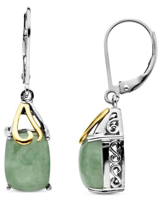 Macy's | Metallic 14k Gold And Sterling Silver Earrings, Jade Rectangle Drops (6 Ct. T.w.) | Lyst