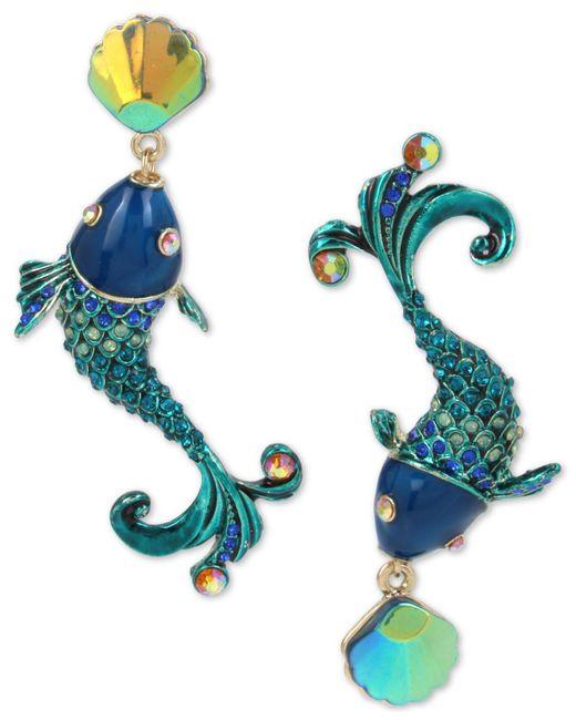 Betsey Johnson - Green Crystal Fish Mismatch Earrings - Lyst