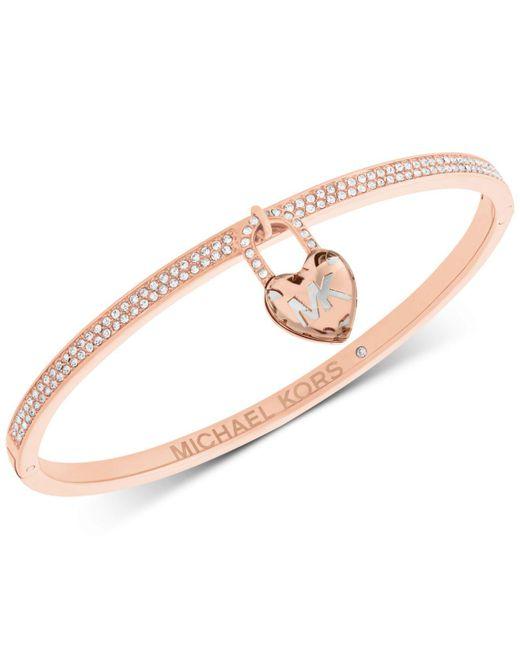 Michael Kors - Metallic Pavé & Heart Lock Charm Bangle Bracelet - Lyst