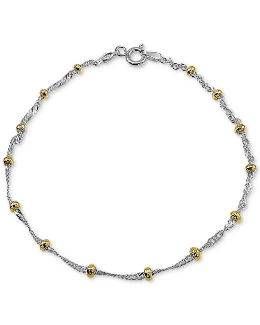 Giani Bernini - Metallic Beaded Singapore Chain Bracelet In Sterling Silver & 18k Gold-plate, Created For Macy's - Lyst