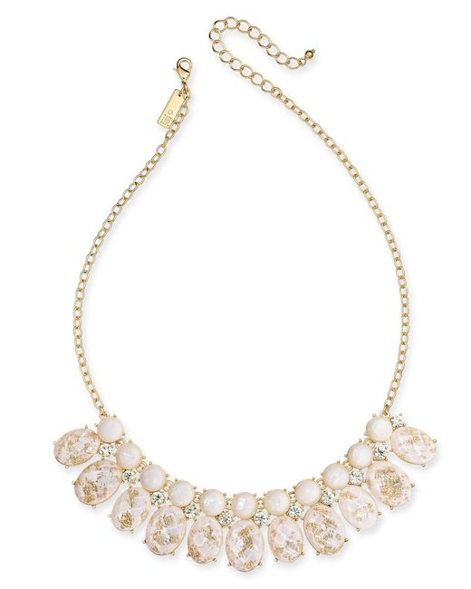 "INC International Concepts - Metallic I.n.c. Gold-tone Crystal, Imitation Pearl & Foil-detail Stone Statement Necklace, 17"" + 3"" Extender, Created For Macy's - Lyst"