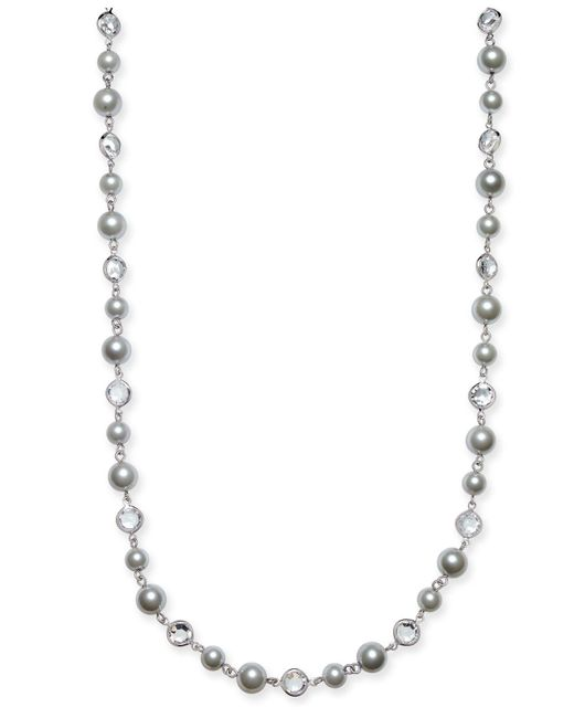 "Charter Club - Metallic Crystal & Imitation Pearl Strand Necklace, 42"" + 2"" Extender, Created For Macy's - Lyst"
