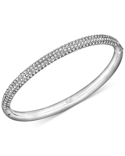 Swarovski | Gray Stainless Steel Crystal Bangle Bracelet | Lyst