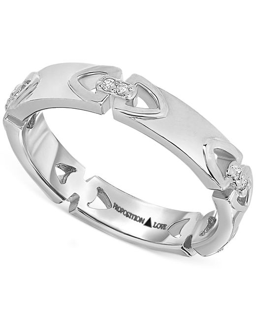 Proposition Love | Metallic Diamond Triangle Motif Ring In 14k White Gold (1/10 Ct. T.w.) | Lyst