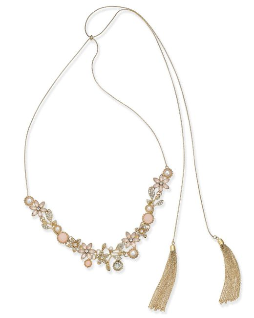 """INC International Concepts - Pink Stone Flower & Tassel 60"""" Slider Necklace, Created For Macy's - Lyst"""