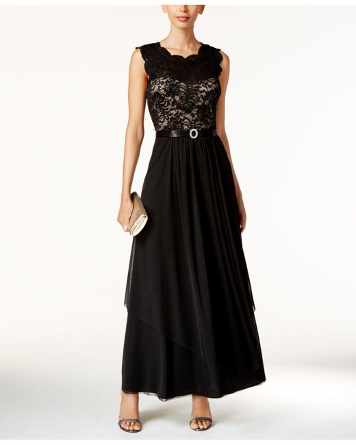 R & M Richards | Black Sequined Lace And Chiffon Gown | Lyst