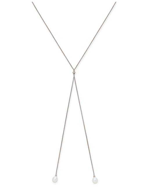 Macy's | Metallic Cultured Freshwater Pearl (9-1/2mm) Lariat Necklace In Sterling Silver | Lyst