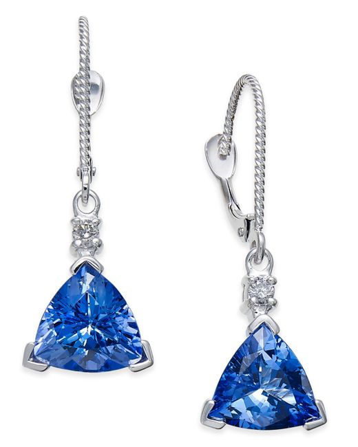 Macy's - Multicolor Tanzanite (4-1/3 Ct. T.w.) And Diamond Accent Drop Earrings In 14k White Gold - Lyst