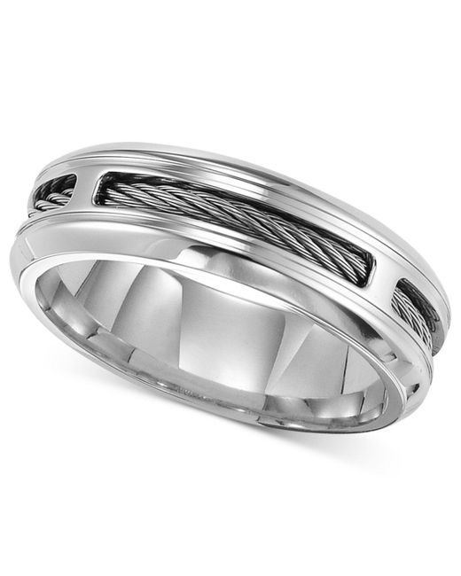 Triton - Metallic Men's Stainless Steel Ring, Comfort Fit Cable Wedding Band for Men - Lyst