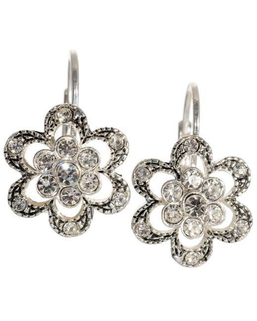 Betsey Johnson - Metallic Crystal Flower Earrings - Lyst