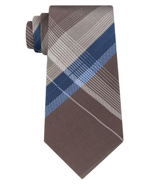 Kenneth Cole Reaction   Blue Men's Open Ground Plaid Silk Tie for Men   Lyst