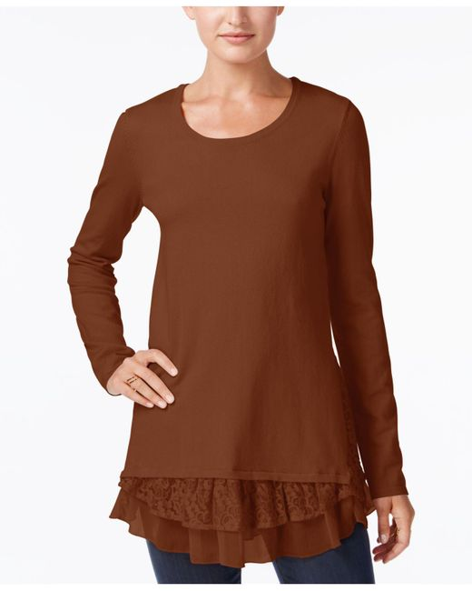 Style & Co. | Brown Mixed-media Tunic Sweater | Lyst