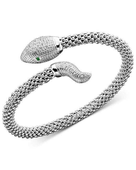 Macy's - Metallic Diamond Snake Bracelet In Sterling Silver (1/4 Ct. T.w.) - Lyst