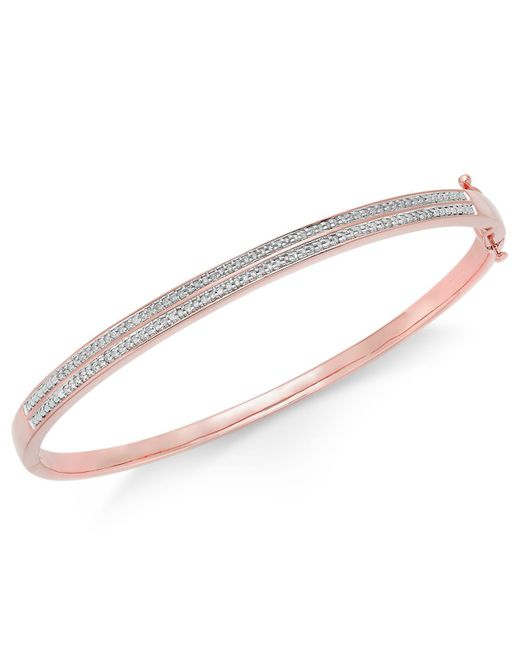 Macy's - Metallic Diamond Pavé Bangle Bracelet (1/4 Ct. Tw.) In 14k Gold Over Sterling Silver - Lyst