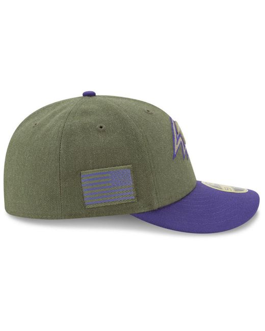 ... KTZ - Green Baltimore Ravens Salute To Service Low Profile 59fifty  Fitted Cap 2018 for Men ... 30e02be1b96e