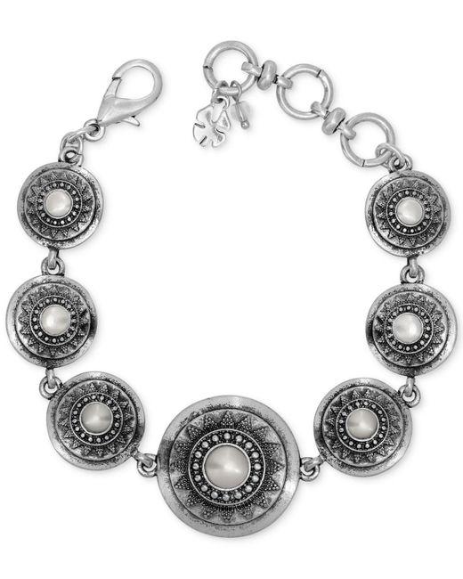 Lucky Brand - Metallic Silver Has Tone Imitation Pearl Star Disc Link Bracelet - Lyst