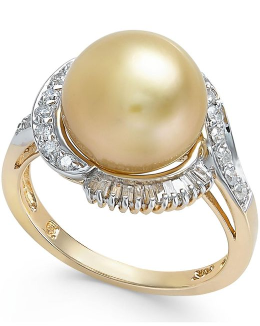 Macy's - Metallic Cultured Golden South Sea Pearl (11mm) And Diamond Ring (1/2 Ct. T.w.) In 14k Gold - Lyst