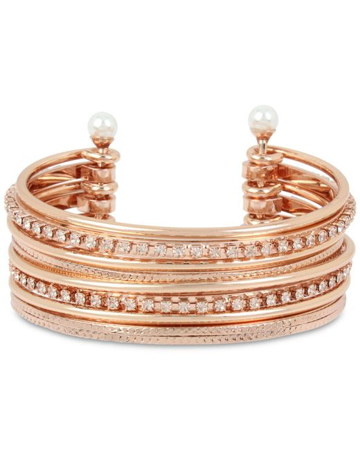 BCBGeneration - Metallic Bcbg Crystal & Imitation Pearl Multi-row Cuff Bracelet - Lyst