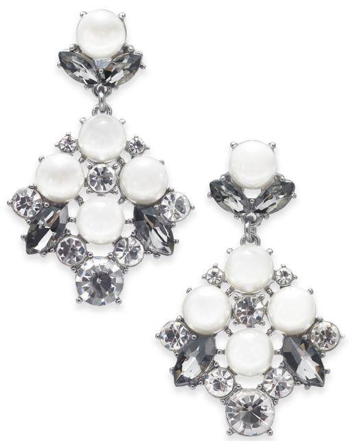Charter Club - Metallic Silver-tone Imitation Pearl & Crystal Drop Earrings, Created For Macy's - Lyst