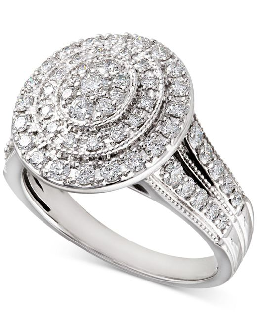 Macy's - Metallic Diamond Oval Halo Ring (1 Ct. T.w.) In 14k White Gold - Lyst