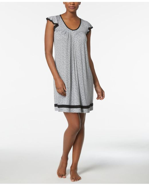 Ellen Tracy - Gray Yours To Love Short Sleeve Nightgown - Lyst