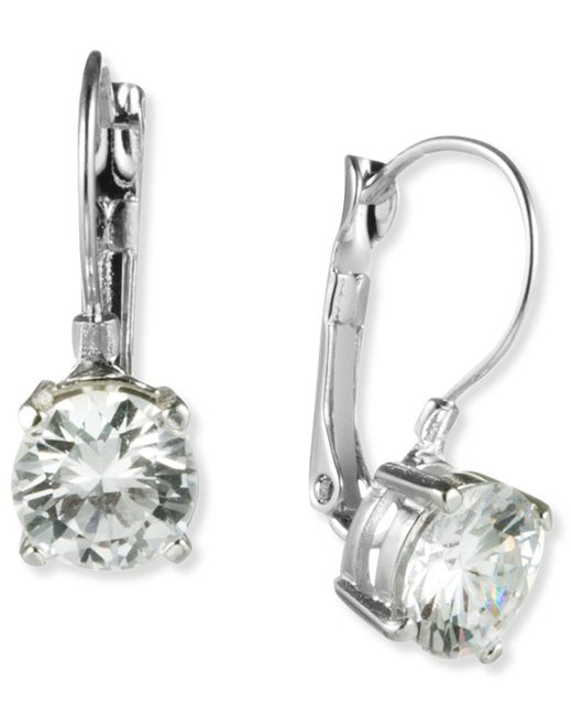 Nine West | Metallic Earrings, Silver-tone Round-cut Crystal Drop Earrings | Lyst
