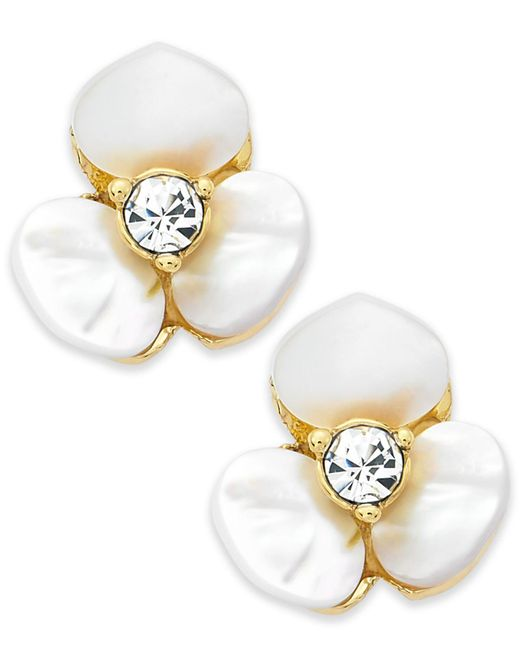 Kate Spade | Metallic Earrings, Gold-tone Cream Disco Pansy Flower Stud Earrings | Lyst