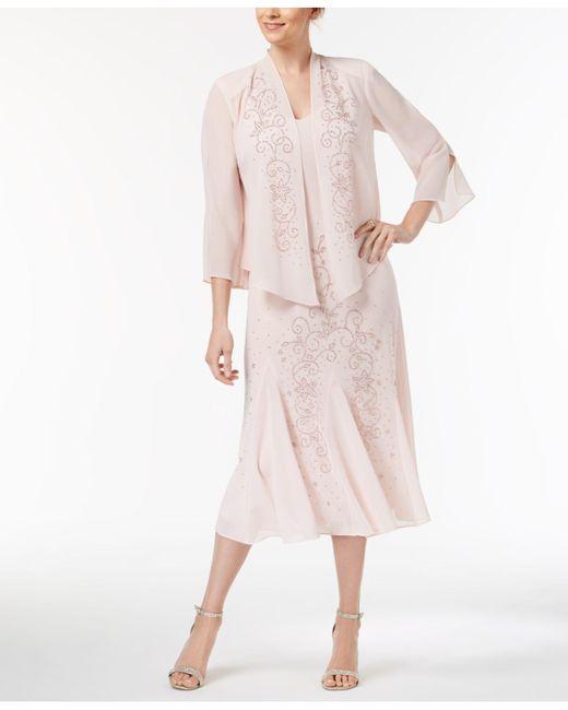 9895df7bc8728 R   M Richards - Pink R m Richards Sleeveless Beaded V-neck Dress And Jacket  ...